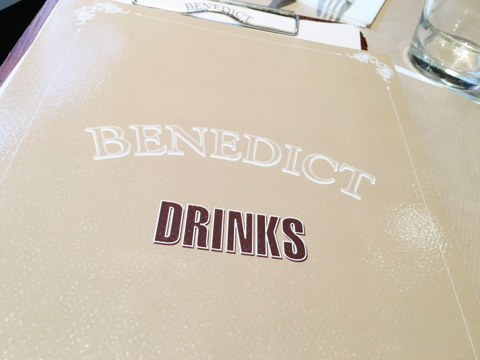 Menu des boissons Benedict Paris.