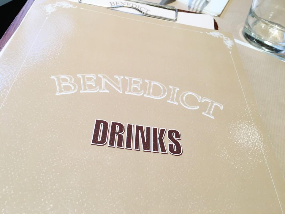 Menu des boissons Benedict Paris.
