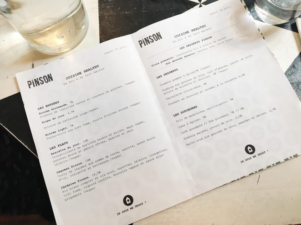 Menu du Café Pinson - Paris.