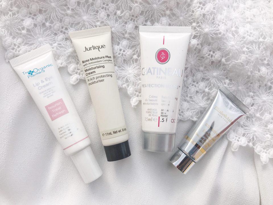 Lip & Eye Cream,The Organic Pharmacy. /Crème Hydratante Rose Moisture Plus, Jurlique. /Crème de Beauté Retexturisante, GATINEAU. /Booster Rénovateur de Peau, Elizabeth Arden.
