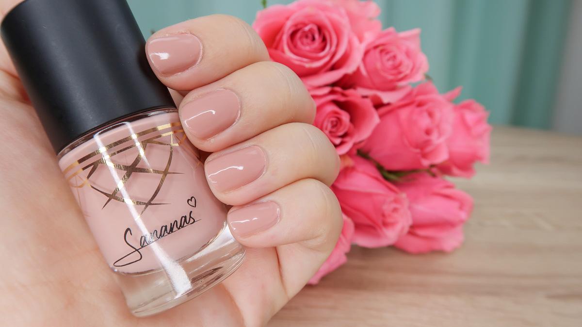 "Swatch du vernis à ongles ""Pink Poise"" Sananas BEAUTY."
