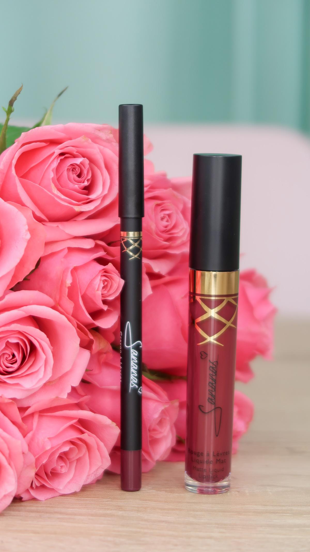 """Crayon à lèvres et rouge à lèvres liquide mat """"Luxury Plum"""" Sananas Beauty."""