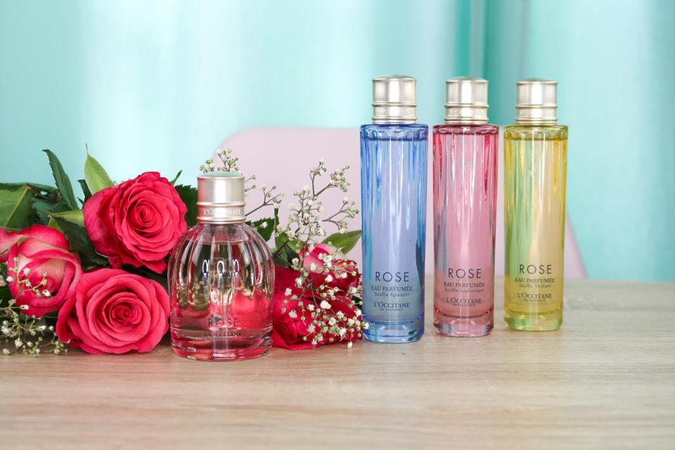 COLLECTION ROSE de L'OCCITANE : Eau de Toilette ROSE, Eau Parfumée Souffle Apaisant, Eau Parfumée Souffle Euphorisant et Eau Parfumée Souffle Vivifiant.