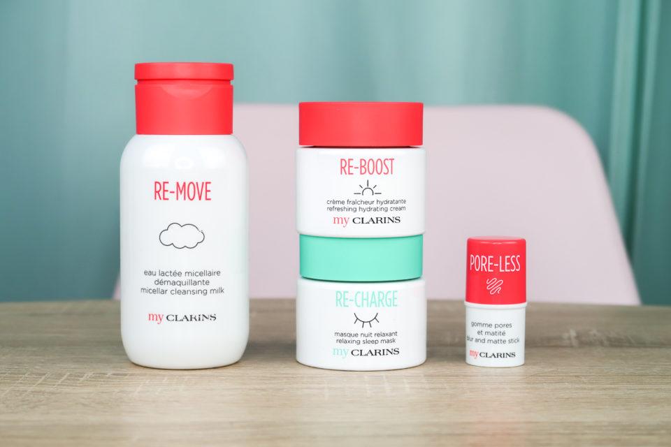 Concours #MyCLARINS : eau lactée micellaire démaquillante, crème fraîcheur hydratante, masque nuit relaxant et gomme pores et matité.